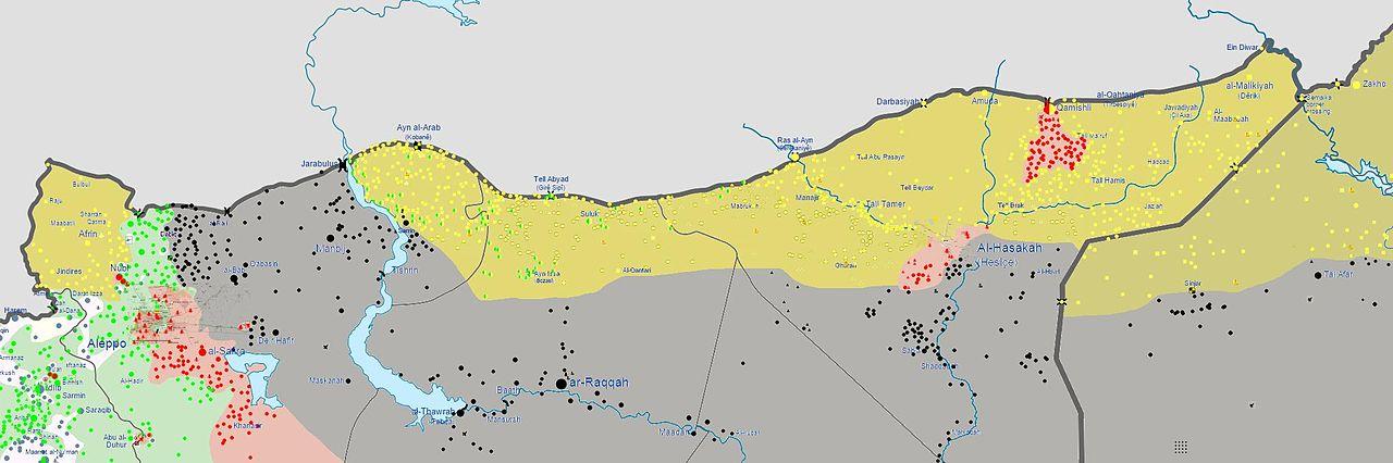 Gula områden är kontrollerade av PKK-vänliga PYD. Delarna är på väg att slås ihop i den pågående konflikten och hotar Turkiets tillgång till olja.